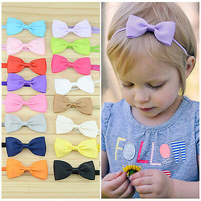 JZ_ 10Pcs Infant Baby Girl Bow Headband Newborn Hair Band Headdress Headwear C