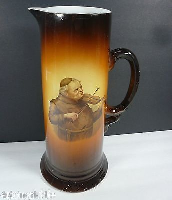 Antique 1930's USONA Goodwin Friar Monk Playing the Violin Porcelain Tankard