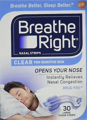 Breathe Right Large Sensitive Skin, Clear Nasal Strips, 30 Count