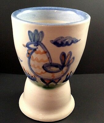 M A Hadley Pottery Egg Cup Rooster Chicken Double Blue Sand Country Farm The End