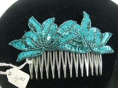 Vintage Green Sequin Hair Comb 80'S Gatsby Flapper Style Headpiece Hairpiece