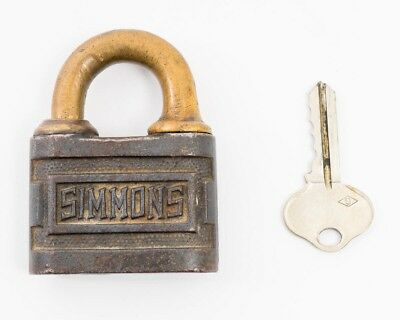 "Antique Iron & Brass Simmons Pin Tumbler Push Key Padlock with Key  2 3/4"" x 2"""