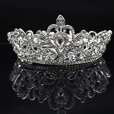 JZ_ Elegant Lady Rhinestone Round Crown Tiara Wedding Bridal Pageant Headpiece