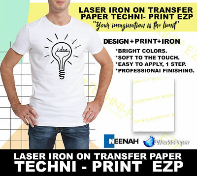 "Techni-Print EZP 100 Sheets Laser Heat Transfer Paper 8.5"" x 11"""