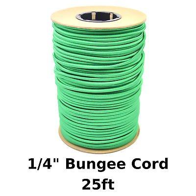 """25ft 1/4"""" Green Bungee Cord Marine Grade Heavy Duty Shock Rope Tie Down Stretch"""