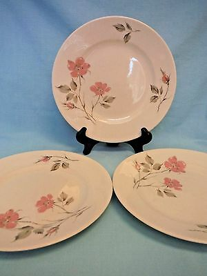 "3 Knowles Dawn Rose Dinner Plates 10-1/8"" Designed by Kalla Oven Proof U.S.A."