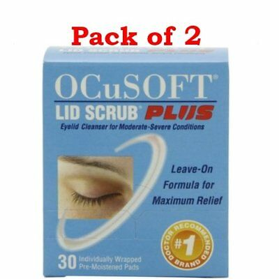 OCuSOFT Lid Scrub Plus Eyelid Cleanser Pre-Moistened Pads, 30 count (PACK OF 2)