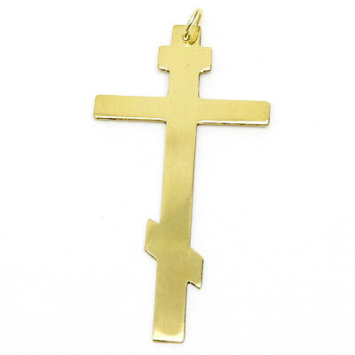 Large Solid Brass Russian Orthodox Cross Pendant Altar Boy Crucifix