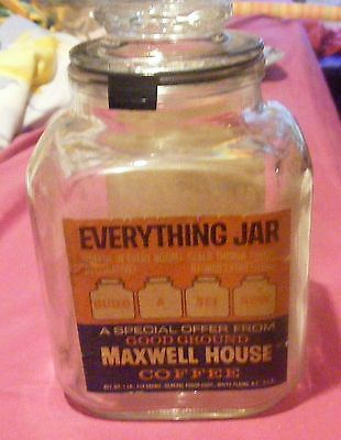 Vintage Maxwell House Coffee Square Glass Everything Jar Offer 1 lb