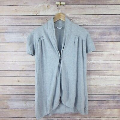 A PEA IN THE POD Women's Short Sleeve One Button Cardigan Sweater M Medium Gray