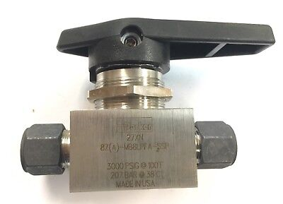 NEW Parker MB Ser Ball Valve Stainless Steel 8Z-MB8LPFA-SSP 3000 psi 1/2 inch