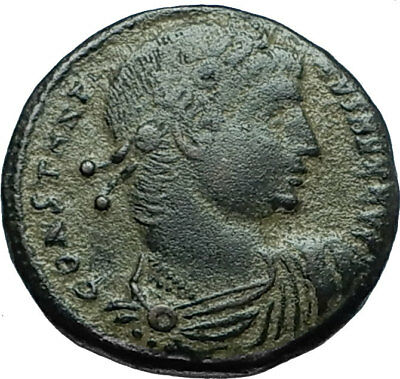 CONSTANTINE I the GREAT 330AD Authentic Ancient Roman Coin w SOLDIERS i66199