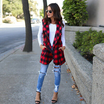 Fashion Women's Red Casual Sleeveless Checked Plaid Mid Length Waistcoat Vest