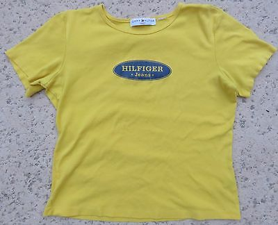 Women's Tommy Hilfiger Jeans Vintage Style Distressed Yellow T-Shirt Size Large