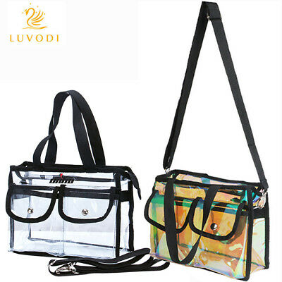 Womens Clear Tote Bag For Work Stadium Approved Clear Purse PVC Shoulder Handbag