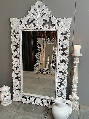 Antique Whitewash French Provincial Carved Mirror Handmade Abstract Floral Wood