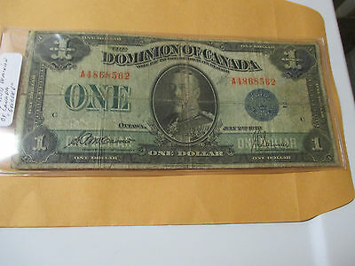 July 2Nd 1923 $1 Dominion Of Canada Blue Seal