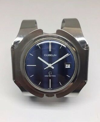 Gubelin G One For Two Vintage Automatic Swiss Watch Stainless Art Deco Design