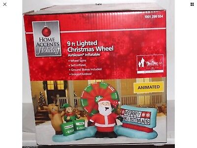 Inflatable Animated Lighted Christmas Wheel 9Ft Wide 5Ft Tall Airblown