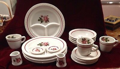 Vintage Syracuse Restaurant Ware Set For 4 Roses Econo Rim SY364 Diner 50-60's