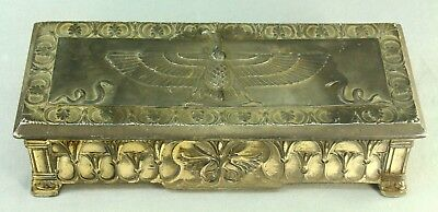 ! Antique JENNINGS BROTHERS Art Deco Cast Metal Jewelry Box EGYPTIAN REVIVAL