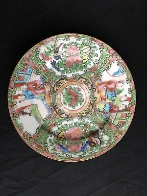Antique Chinese Export Porcelain Rose Medallion Plate 19th Century