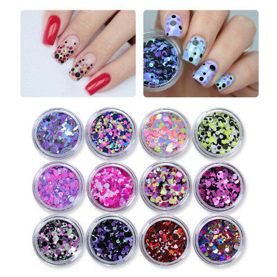 12 Colors Nail Glitter Sequins Studs Holographic Multi-size 3D Nail Art Decor