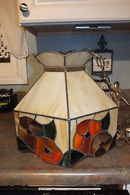 Vintage Stained Glass Swag Hanging Lamp Flowers Floral Mid Century Plug In