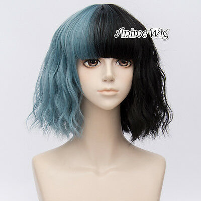 Lolita 35cm Short Curly Black Mixed Smoke Blue Lady Party Cosplay Full Wig+Cap