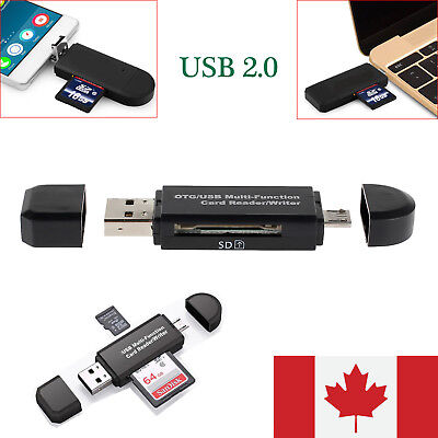 Micro USB OTG to USB 2.0 Adapter SD TF Micro Card Reader For PC Mobilephone