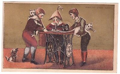 Singer Sewing Machines Company Cats VTC Victorian Trade Card Philladelphia b