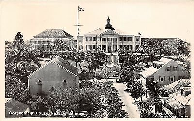 Nassau Bahamas~Government House~Monument on Steps~Houses in Front~Flag~RPPC