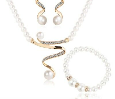 simulated pearl fashion jewellery set necklace earrings bralelet UK STOCK