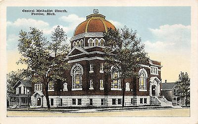 Pontiac Michigan~Central Methodist Church~Colorful Stained Glass Windows~1920s