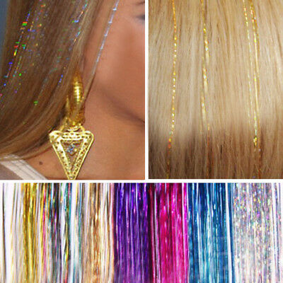 JZ_ Hair Tinsel Bling Extension Glitter Sparkly Highlight Streak Club Party Wi