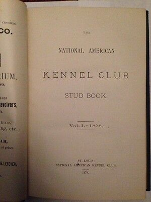 1st AKC 1878 US Dog Stud Book ANTIQUE National American Kennel Club VERY RARE