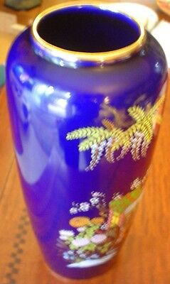 "Japanese Hand Painted Vase 11"" Tall Signed By Artist With Gold Accents"