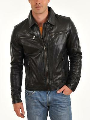 Mens Genuine lambskin jacket Leather Jacket Slim fit Biker Motorcycle M47