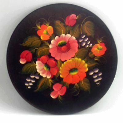 Zhostovo Russia Wall Plate Vintage Hand Painted Lacquer Flowers Excellent Signed