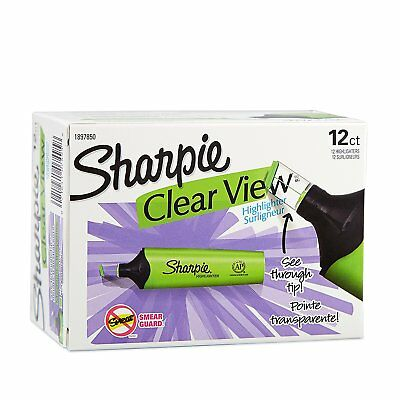 Sharpie Clear View Highlighter, Chisel Tip, Green, 12-Count