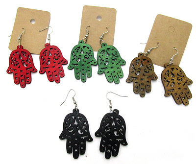 Pair of Wood Hamsa Earrings. Different Colours Available. Hand of Fatima Amulet
