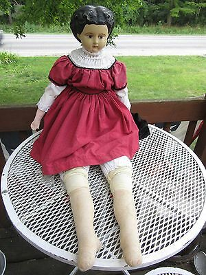 """Antique Ludwig Greiner sawdust doll Large 40"""" w/repo arms /clothes-FREE SHIPPING"""