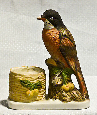 Vintage 1979 Luvkin Songbirds Robin - Hand Painted Bisque Porcelain Jasco NICE!
