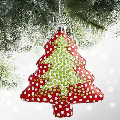 2017 Pier 1 Painted Glass Christmas Tree Ornament Decor Holiday