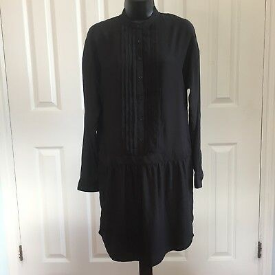 Women's Joe Fresh Dress Long Sleeve 4 Black Pleated Button Front Career NWT