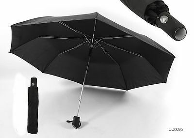 Mens Drizzles Black Automatic Opening Compact Umbrella with Sleeve UU95