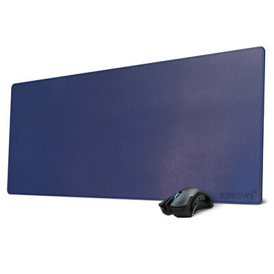 Blue leather Desk Mat Mouse Pad- Extended Non-slip PU Mat Gaming&Office Blotter
