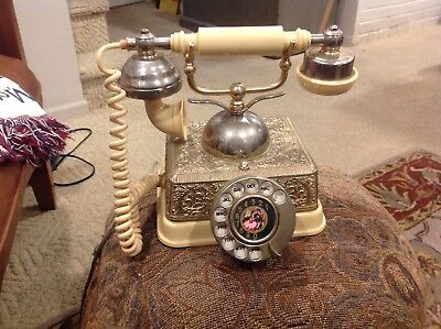 Vintage Beautiful Victorian Rotary Telephone Radio Shack Silver Color