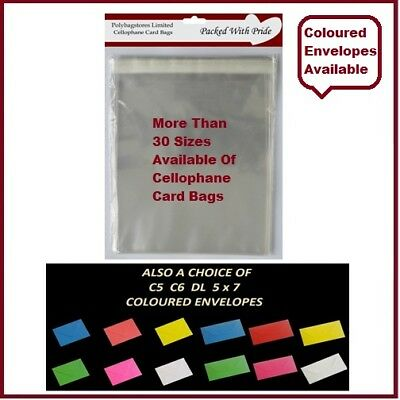 Clear Cello Card Bags - Cellophane Display Bag for Cards & Photos - Free Postage