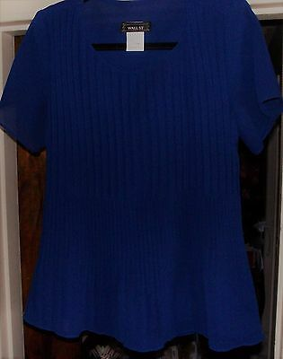 Navy blue blouse permanent pleat crystal short sleeve Medium WALL STREET